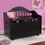 Limited Edition Childs Toy Box with Bench Seat and Flip-Top Lid - Black [14181-FS-KK]