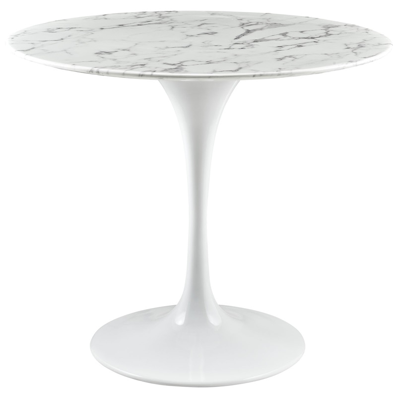 lippa round marble top dining table in white eei1129whi by modway bizchaircom