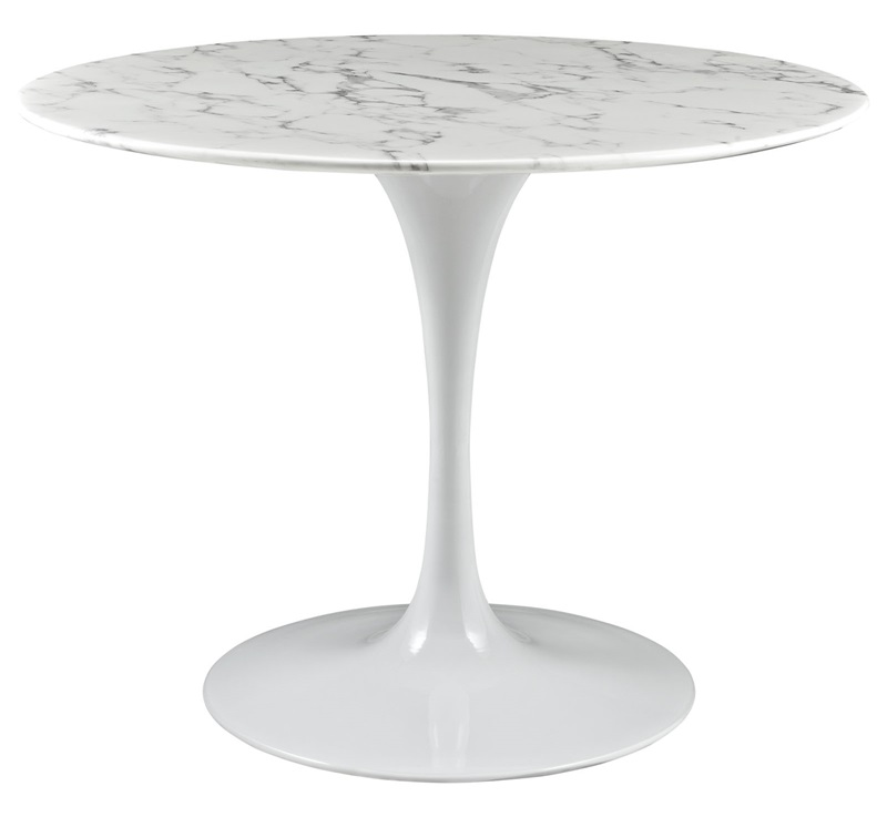 lippa round marble top dining table in white eei1130whi by modway bizchaircom