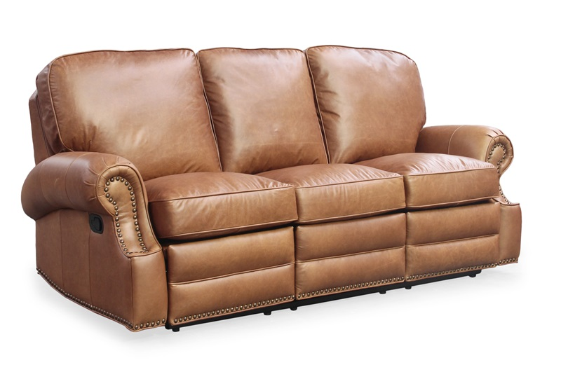 Longhorn Top Grain Leather Sofa Recliner Chaps Saddle