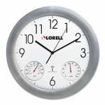 Lorell Analog Temperature/Humidity Wall Clock - 12''Dia - Silver [LLR61000-FS-SP]