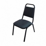 Lorell Black Vinyl Upholstered Stack Chairs - Set of 4 [LLR62512-FS-SP]