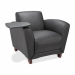 Lorell Bonded Reception Chair - Tablet - 36''W x 34 -1/2''L x 31 -1/4''H - Leather/Black [LLR68953-FS-SP]