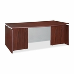Lorell Executive Desk - Bow - 72''W x 42''L x 29 -1/2''H - Mahogany [LLR68680-FS-SP]