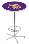 Louisiana State University 42''H Chrome Finish Bar Height Pub Table with Foot Ring [L216C42LASTUN-FS-HOB]