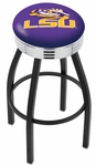 Louisiana State University 25'' Black Wrinkle Finish Swivel Backless Counter Height Stool with Ribbed Accent Ring [L8B3C25LASTUN-FS-HOB]