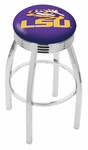 Louisiana State University 25'' Chrome Finish Swivel Backless Counter Height Stool with 2.5'' Ribbed Accent Ring [L8C3C25LASTUN-FS-HOB]