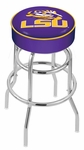 Louisiana State University 25'' Chrome Finish Double Ring Swivel Backless Counter Height Stool with 4'' Thick Seat [L7C125LASTUN-FS-HOB]