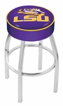 Louisiana State University 25'' Chrome Finish Swivel Backless Counter Height Stool with 4'' Thick Seat [L8C125LASTUN-FS-HOB]