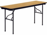 6000 Series Traditional Rectangular Folding Table with Medium Oak Top and Char Black Frame - 18''W x 60''D x 29''H [601860-OAK084BLK01-BLK01-VCO]