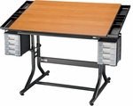 CraftMaster II Deluxe Art, Drawing, and Hobby Table - Cherry Top [CM48-3-WBR-FS-ALV]