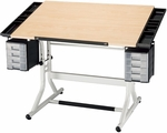 CraftMaster II Deluxe Art, Drawing, and Hobby Table - Maple Top [CM48-4-WB-FS-ALV]