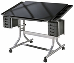 CraftMaster II Art and Drawing Steel Frame Angled Tempered Glass Top Table - 40''W x 28''D [CM48GL-FS-ALV]