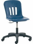 Quick Ship Metaphor Series Task Chair with Navy Polypropylene Seat and Black Base - 24.13''W x 24.13''D x 28''H - 32.5''H [N9TASK18-BLU51-BLK01-VCO]