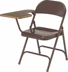 Multi-Purpose Steel Folding Chair with Laminate Tablet Arm - Brown Chair and Walnut Tablet - 17.75''W x 18.75''D x 29.5''H [CHAIR-165-WAL078CLR-BRN16-VCO]