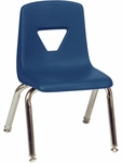 2000 Series Stack Chair with 12''H Seat with Chrome Frame - Navy - 13.5''W x 14''D x 21.62''H [2012-BLU51-CHRM-VCO]