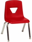2000 Series Stack Chair with 12''H Seat with Chrome Frame - Red - 13.5''W x 14''D x 21.62''H [2012-RED70-CHRM-VCO]
