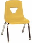 2000 Series Stack Chair with 12''H Seat with Chrome Frame - Yellow - 13.5''W x 14''D x 21.62''H [2012-YLW47-CHRM-VCO]