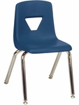 2000 Series Stack Chair with 14''H Seat with Chrome Frame - Navy - 13.63''W x 16.5''D x 23.62''H [2014-BLU51-CHRM-VCO]