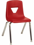 2000 Series Stack Chair with 14''H Seat with Chrome Frame - Red - 13.63''W x 16.5''D x 23.62''H [2014-RED70-CHRM-VCO]