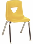 2000 Series Stack Chair with 14''H Seat with Chrome Frame - Yellow - 13.63''W x 16.5''D x 23.62''H [2014-YLW47-CHRM-VCO]