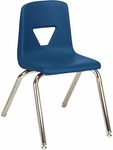 Quick Ship 2000 Series Stack Chair with 16''H Seat with Chrome Frame - Navy - 16.88''W x 20''D x 27''H [2016-BLU51-CHRM-VCO]