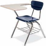 Quick Ship 3000 Series Combo Sandstone Hard Plastic Tablet Arm Desk with Navy Seat and Wire Bookrack - 18.75''W x 31''D x 30.5''H [3700BRM-BLU51-BRN96-CHRM-VCO]