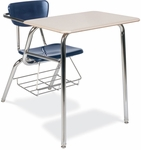 Quick Ship 3000 Series Combo Sandstone Hard Plastic Desk with Navy Seat and Wire Bookrack - 22.75''W x 35.75''D x 29.63''H [3400BRM-BLU51-BRN96-CHRM-VCO]