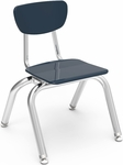 3000 Series Hard Plastic Stack Chair with 12''H Seat and Chrome Frame - Navy - 14.63''W x 15''D x 20.5''H [3012-BLU51-CHRM-VCO]