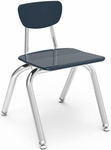 Quick Ship 3000 Series Hard Plastic Stack Chair with 14''H Seat and Chrome Frame - Navy - 16.5''W x 17.25''D x 25.75''H [3014-BLU51-CHRM-VCO]