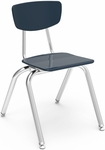 Quick Ship 3000 Series Hard Plastic Stack Chair with 16.25''H Seat and Chrome Frame - Navy - 16.5''W x 19.5''D x 27.5''H [3016-BLU51-CHRM-VCO]