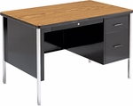 Quick Ship 540 Series Traditional Single Pedestal Teachers Desk with Medium Oak Top and Black Frame - 30''W x 48''D x 30''H [543-OAK084BLK01-BLK01-VCO]