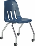 Classic Series Mobile Chair with 18''H Polypropylene Seat and Chrome Frame - Navy - 18.63''W x 21''D x 30''H [9050-BLU51-CHRM-VCO]