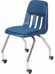 9000 Classic Series Sedona Sailor Fabric and Navy Polypropylene Mobile Chair with 18''H Seat and Chrome Frame - 18.63''W x 21''D x 30''H [9050P-BLU51-BLU204-CHRM-VCO]