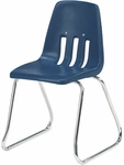 9000 Classic Series Sled Base Chair with 14''H Polypropylene Seat and Chrome Frame - Navy - 15''W x 15''D x 23.25''H [9614-BLU51-CHRM-VCO]