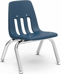 9000 Classic Series Stack Chair with 10''H Polypropylene Seat and Chrome Frame - Navy - 14.63''W x 15''D x 18.38''H [9010-BLU51-CHRM-VCO]