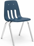 Quick Ship 9000 Classic Series Stack Chair with 16''H Polypropylene Seat and Chrome Frame - Navy - 16.75''W x 19.5''D x 27''H [9016-BLU51-CHRM-VCO]