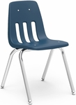 Quick Ship 9000 Classic Series Stack Chair with 18''H Polypropylene Seat and Chrome Frame - Navy - 18.75''W x 21.5''D x 30.63''H [9018-BLU51-CHRM-VCO]