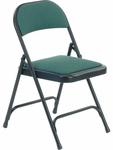 Multi-Purpose Steel Folding Chair with Sedona Loden Fabric Pads and Char Black Frame - 17.75''W x 18.75''D x 29.5''H [188-GRN203-BLK01-VCO]