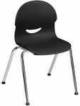 I.Q. Series Stack Chair with 15.5''H Plastic Seat and Chrome Frame - Black - 18.75''W x 19''D x 28.25''H [264515-BLK01-CHRM-VCO]