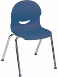 I.Q. Series Stack Chair with 15.5''H Plastic Seat and Chrome Frame - Navy - 18.75''W x 19''D x 28.25''H [264515-BLU51-CHRM-VCO]