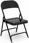 Quick Ship Multi-Purpose Steel Folding Chair with Char Black Finish - 17.75''W x 18.62''D x 29.5''H [162-BLK01-VCO]