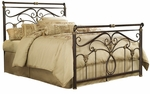 Lucinda Elegant Metal Sleigh Bed with Frame - Full - Marbled Russet [B11834-FS-FBG]