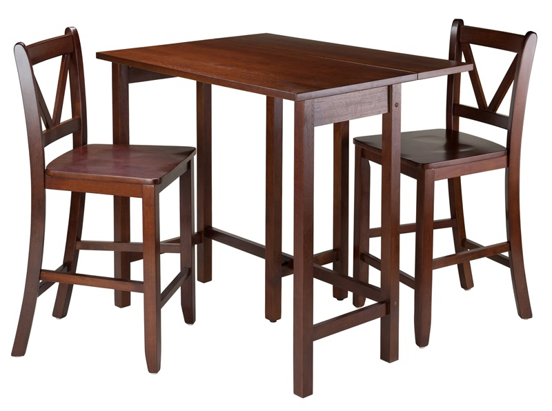 Lynnwood Dining Table Set With Drop Leaf And Counter Stools Walnut By  Winsome Wood Bizchaircom With Winsome Wood Tv Table Set Walnut