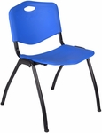 M'' 30''H Armless Stackable Plastic Chair with Handle - Blue [4700BE-REG]