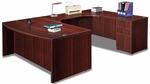 Mahogany Bow Front Desk U Suite [ML343-MAHOGANY-FS-MAR]
