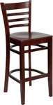 Mahogany Finished Ladder Back Wooden Restaurant Barstool [BFDH-8241MM-BAR-TDR]