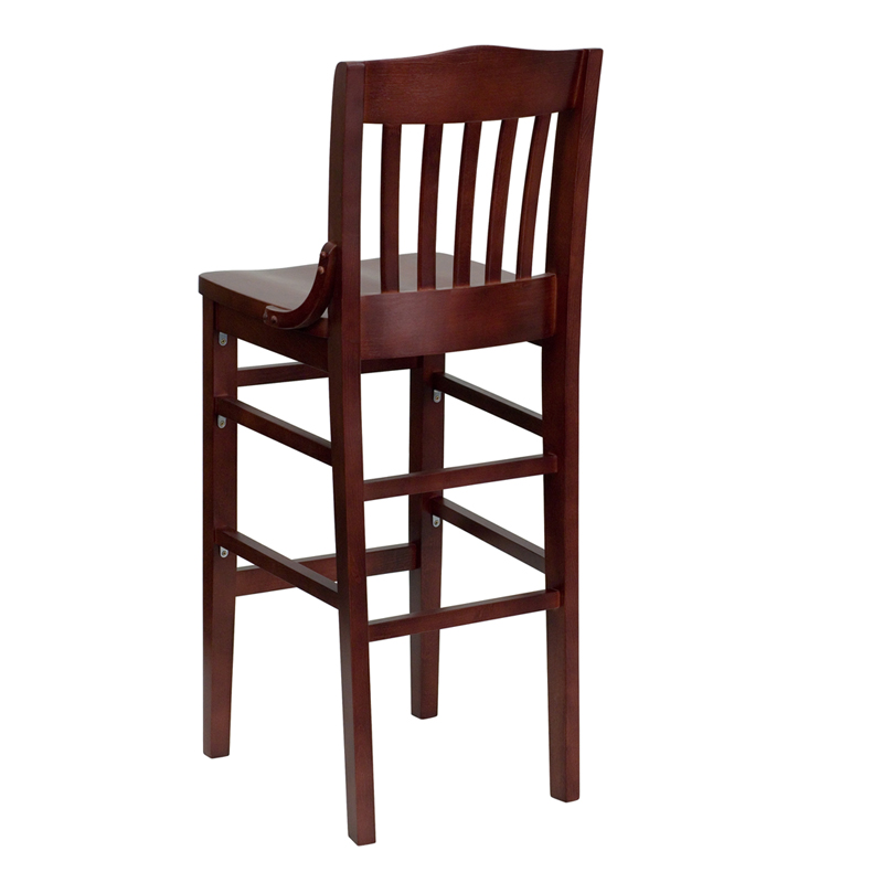 mahogany finished school house back wooden restaurant barstool by t u0026 d restaurant equipment bizchaircom