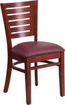 Mahogany Finished Slat Back Wooden Restaurant Chair with Burgundy Vinyl Seat [BFDH-90180-MAH-BY-TDR]