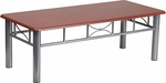 Mahogany Laminate Coffee Table with Silver Steel Frame [JB-5-COF-MAH-GG]